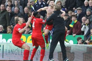 Gran celebración la de los jugadores del Liverpool. Foto:AFP