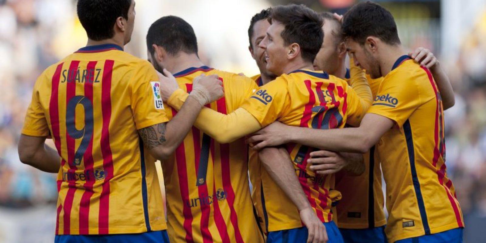 Así celebraron los catalanes el tanto de Lio Messi. Foto:AFP