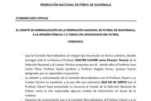 Comunicado de prensa de la Fedefut sobre la supuesta renuncia de Walter Claverí Foto:Publinews