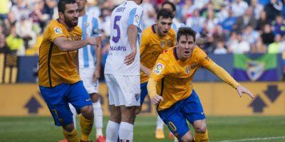 Así celebró Messi el gol del triunfo para el FC Barcelona. Foto:AP