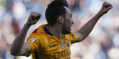 Munir celebró así su gol ante el Málaga. Foto:AP