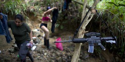 """En esta imagen, tomada el 4 de enero de 2016, el arma de una combatiente del 36to frente de las Fuerzas Armadas Revolucionarias de Colombia, o FARC, cuelga de la rama de un árbol que sirve de percha improvisada, cerca de un campamento rebelde, en el estado de Antioquia, en los Alpes colombianos. """"Habrá dejación, como dice el acuerdo, pero nunca entrega de armas"""", dice Juan Pablo, comandante del 36to frente. Foto:AP/ Rodrigo Abd"""