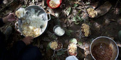 """En esta imagen, tomada el 4 de enero de 2016, un combatiente del frente 36 de las Fuerzas Armadas Revolucionarias de Colombia, o FARC, se sirve arroz, huevos, salchicha y frijoles para desayunar, en un campamento clandestino en el estado de Antioquia, en los Alpes colombianos. Aunque las FARC parecen a veces ancladas en el tiempo, los rebeldes comparten una enorme gratitud hacia la insurgencia por rescatarles de la pobreza, dándoles una """"familia"""" y un sentido de pertenencia a un grupo. Foto:AP/ Rodrigo Abd"""