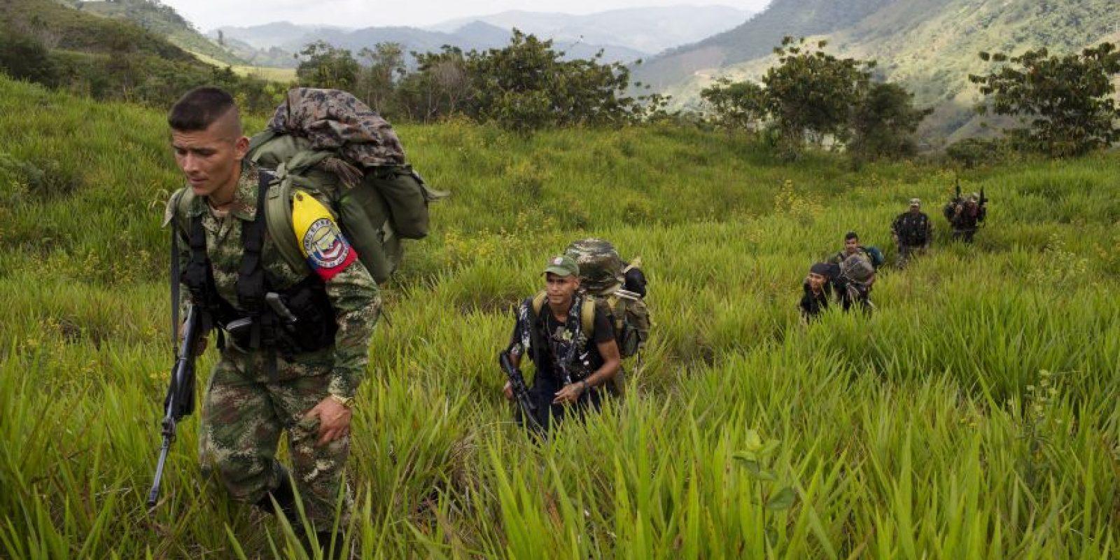 En esta imagen, tomada el 6 de enero de 2016, miembros del frente 36 de las Fuerzas Armadas Revolucionarias de Colombia, o FARC, caminan por un campo en el estado de Antioquia, en el noroeste de los Alpes colombianos. Los grandes campamentos de la guerrilla son una cosa del pasado, los rebeldes se mueven ahora en grupos más pequeños. El frente 36 está formado por 22 rebeldes rasos, cuatro comandantes y 2 perros. Foto:AP/ Rodrigo Abd