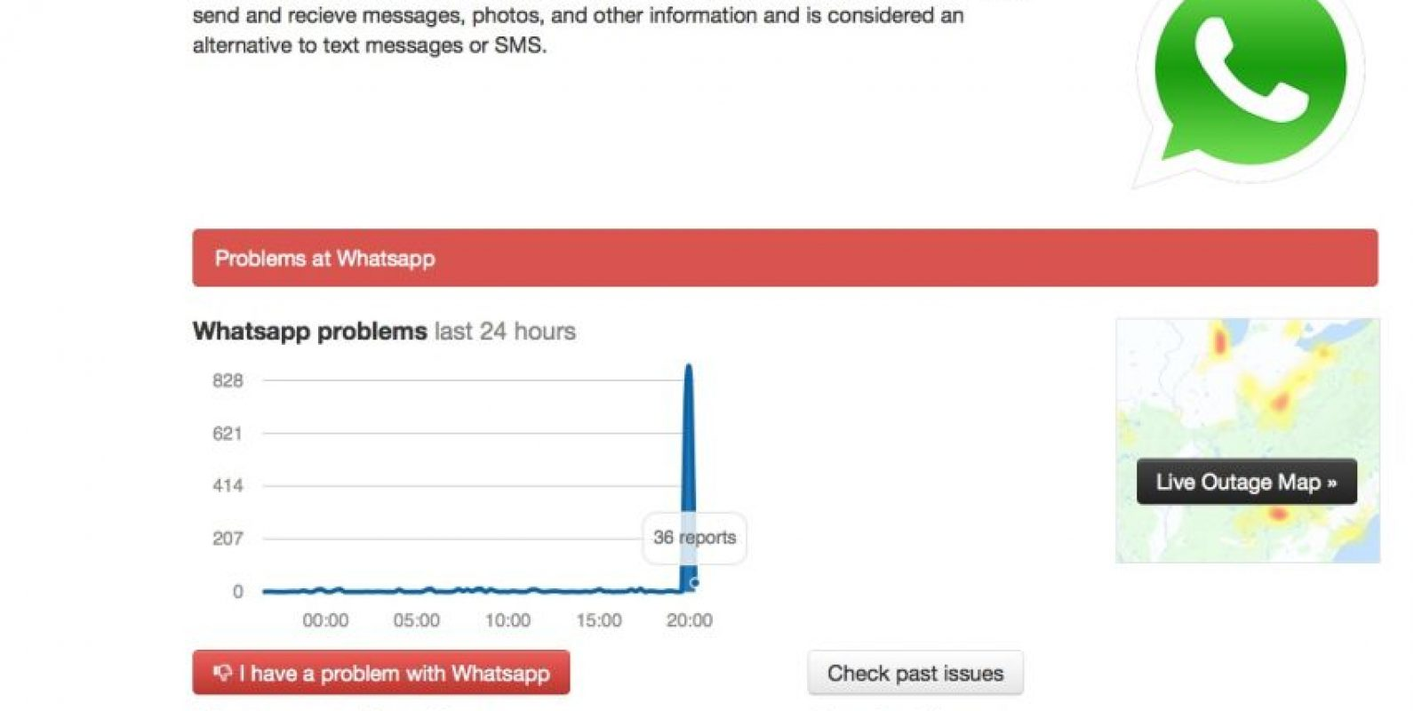 WhatsApp vuelve a presentar problemas en todo el mundo. Foto:Vía downdetector.com
