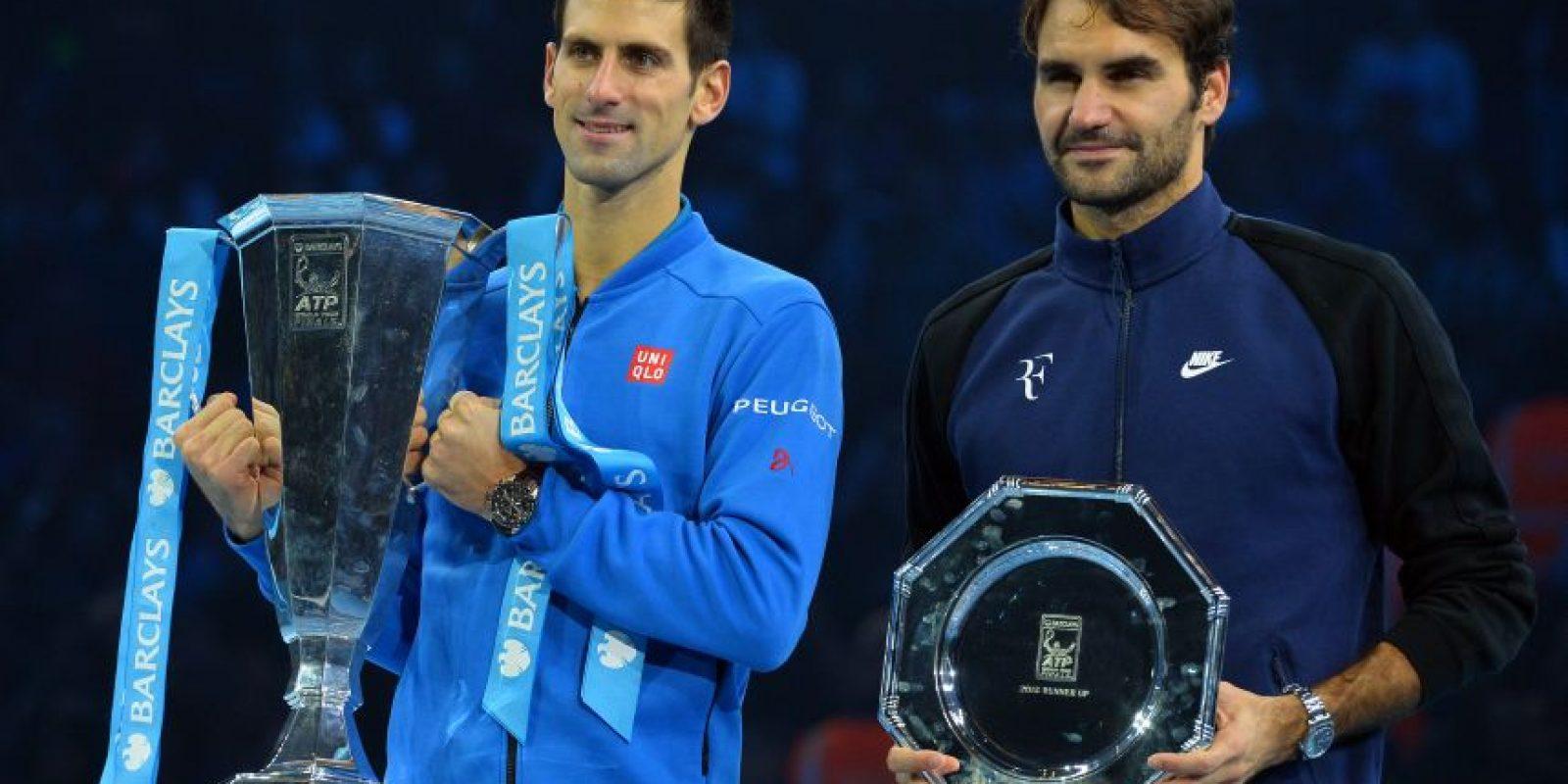 Djokovic y Federer en las finales de Barclays 2015. Foto:AFP