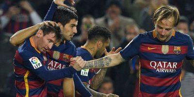 Los catalanes celebraron uno de sus goles ante el Athletic de Bilbao