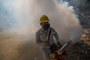 Un hombre fumiga una casa para erradicar los mosquitos transmisores del zika. Foto:AFP