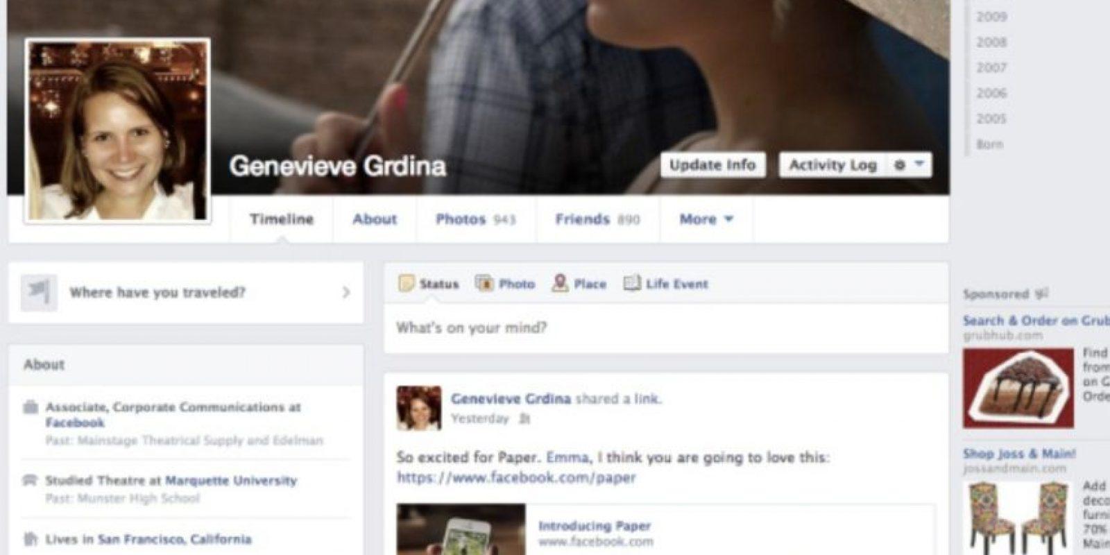 """2013-2014. Facebook introduce una aplicación llamada """"Paper"""" y se los colores se vuelven más sutiles. Foto:Vía Facebook"""