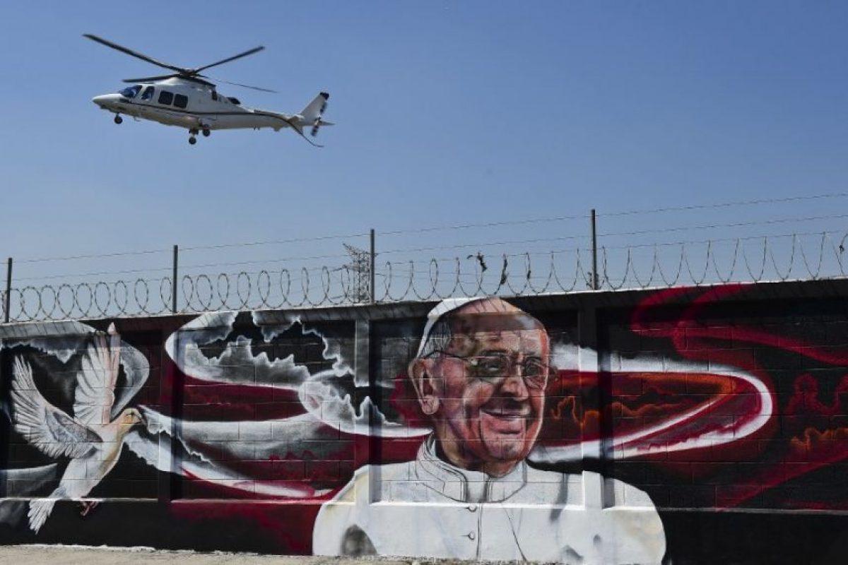Un mural con la imagen del papa Francisco en México. Foto:AFP