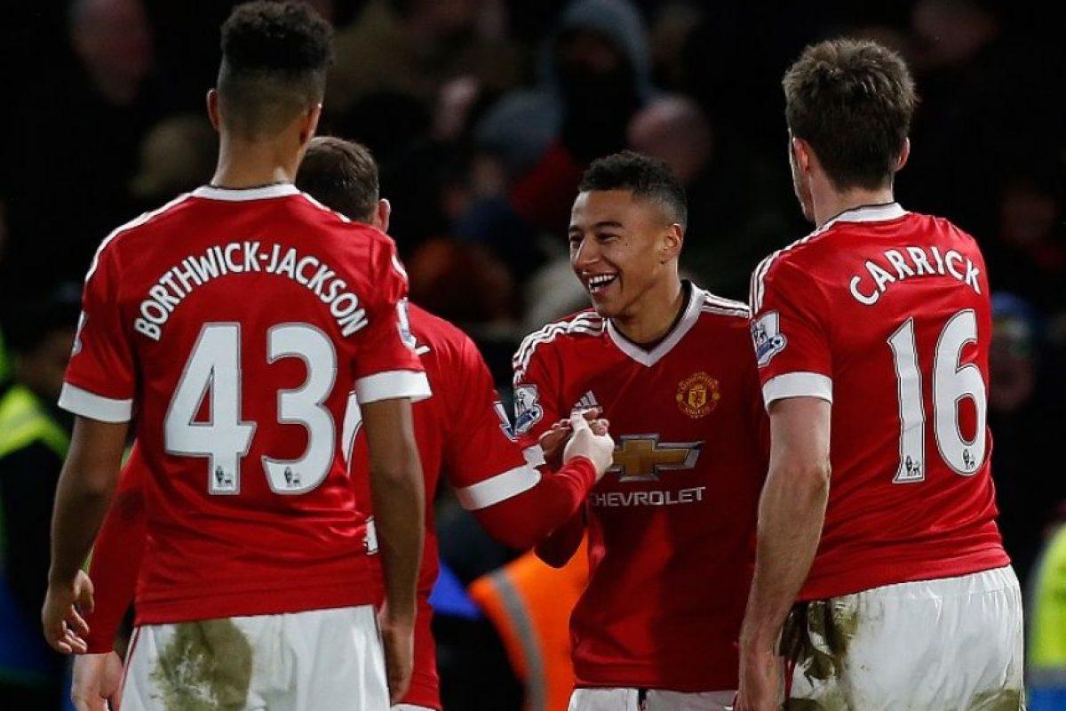 Jugadores del Manchester United celebran un gol ante el Chelsea. Foto:AFP