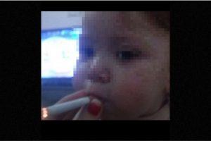 La usuaria de Instagram @lapelirrojah_delbarriooh subió a su cuenta una foto de su bebé fumando Foto:Instagram.com