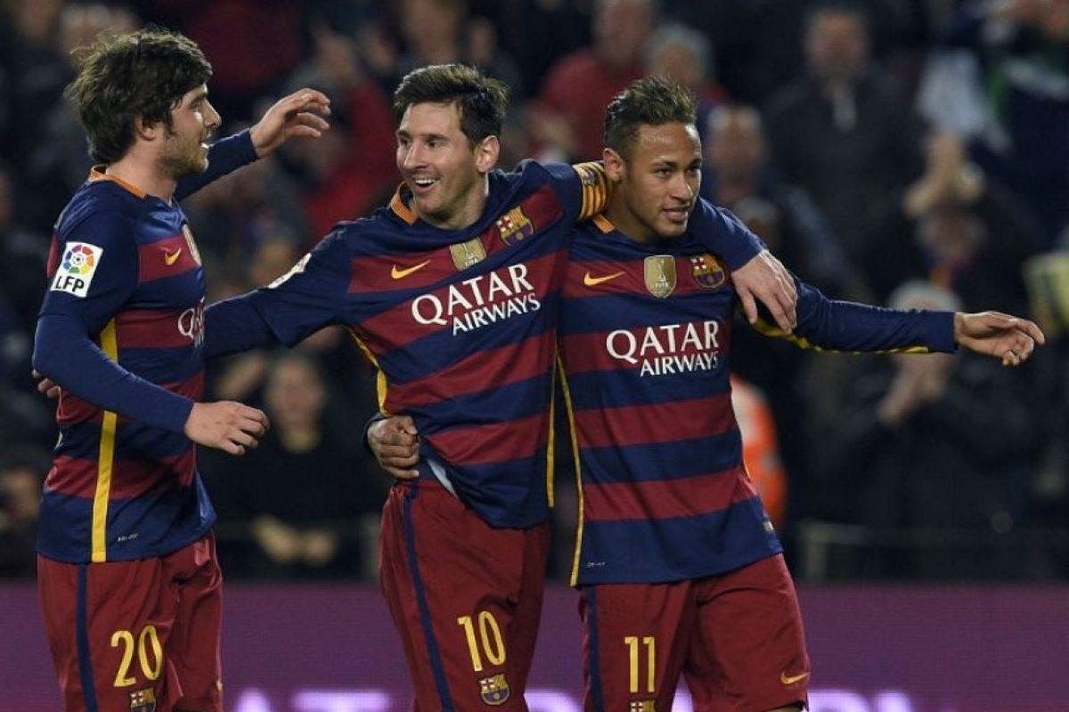 Jugadores del Barcelona celebran un gol en la Copa del Rey 2016. Foto:AFP