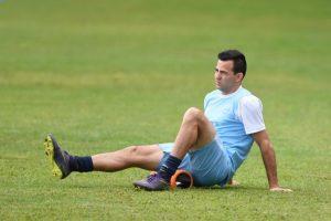 El mediocampista Marco Pappa entrenando con la selección nacional de Guatemala. Foto:AFP