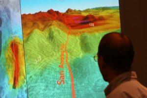 El Servicio Geológico de Estados Unidos (USGS) muestra la gráfica de un temblor. Foto:AFP