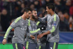 Jugadores del Real Madrid festejan un gol ante la Roma. Foto:AFP