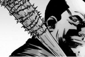 "Negan hace llamar ""Lucille"" a su bate de béisbol enrollado en alambre de púas. Foto:Twitter"