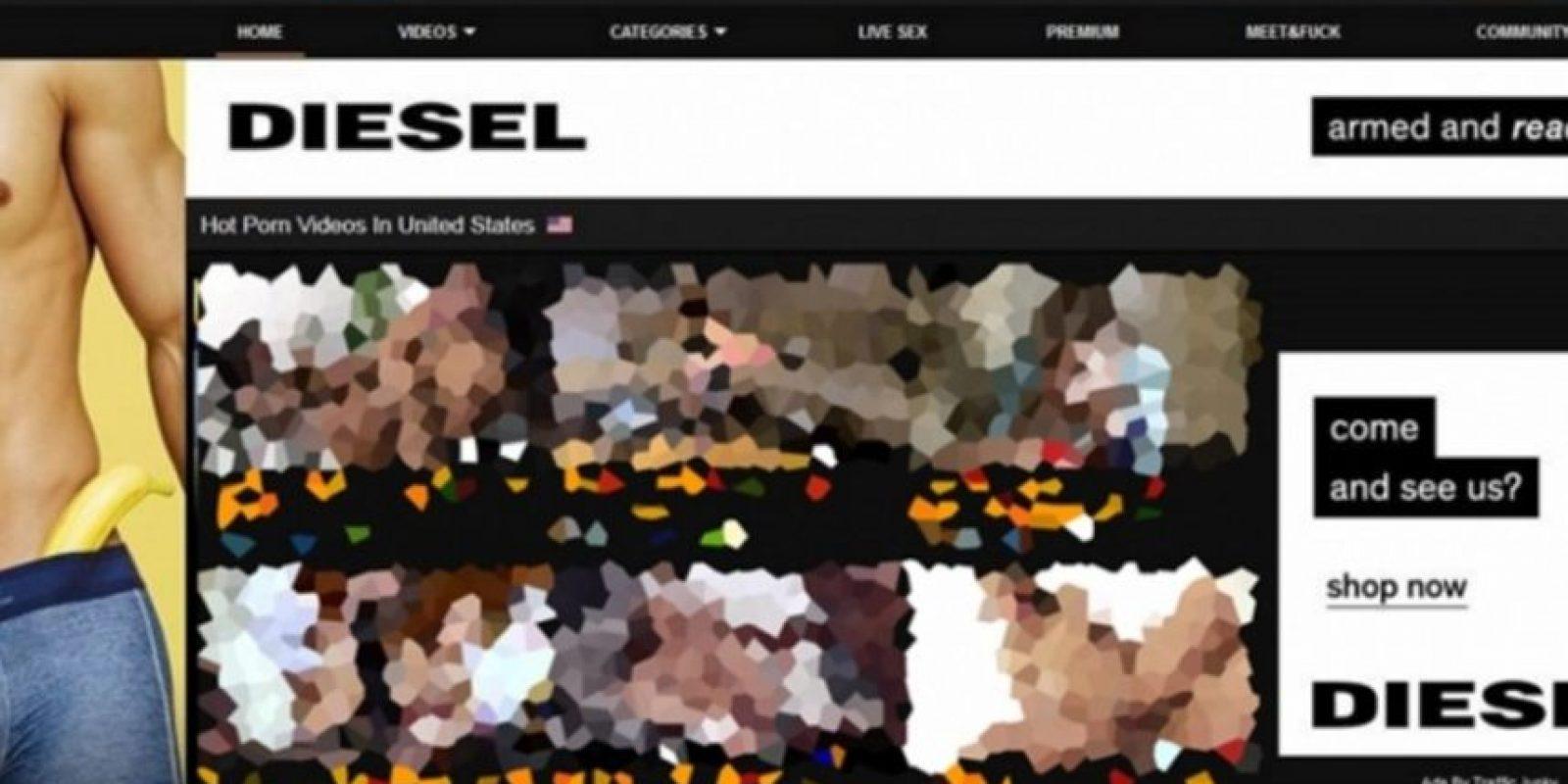 Así se ven los anuncios de Diesel en Pornhub. Foto:Diesel