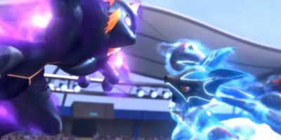 Mewtwo Oscuro y Lucario se enfrentan en una batalla en Pokkén Tournament. Foto:Nintendo