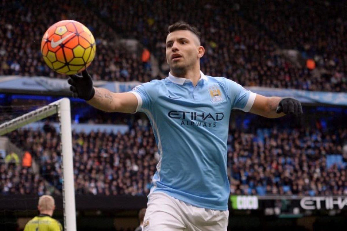 El Kun Agüero durante un partido de Premier League con el Manchester City. Foto:AFP