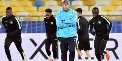Jugadores del Manchester City en un entrenamiento previo a un partido de Champions League contra el Dinamo de Kiev. Foto:AFP