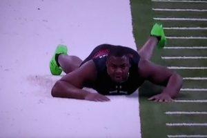 """Chris Jones, prospecto de la Universidad de Missisipi State tuvo un """"accidente"""" durante el Combine de la NFL. Foto:Vía twitter.com"""