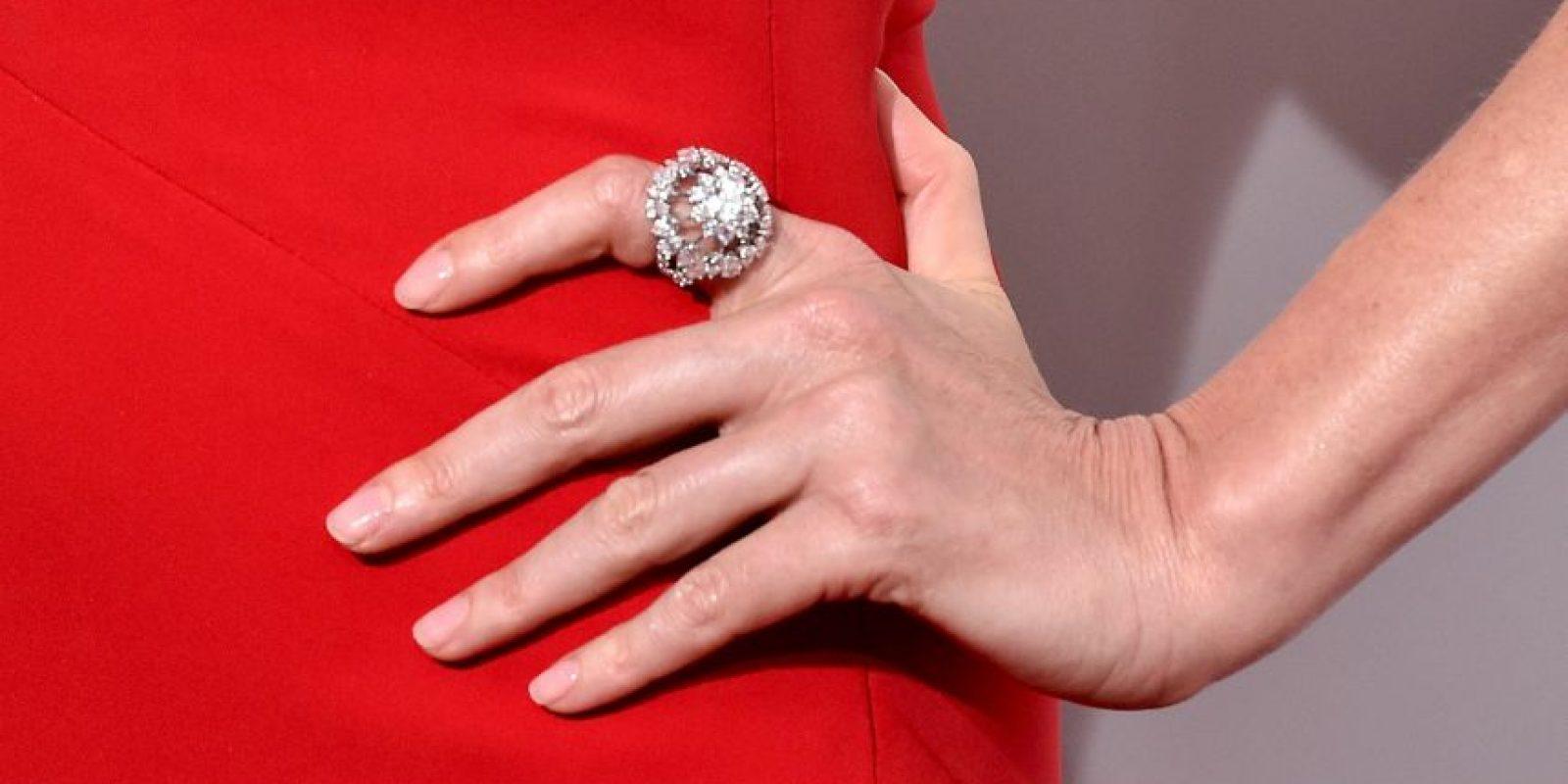 Y un anillo de 7.44 kilates en la mano izquierda. Foto:Getty Images