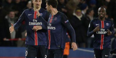 Jugadores del PSG festejan un gol en un partido de Champions League. Foto:AFP