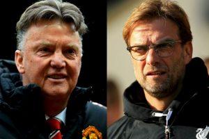 Se enfrentan dos de los técnicos más famosos de la actualidad: Louis van Gaal (Manchester United) y Jürgenn Klopp (Liverpool) Foto:Getty Images
