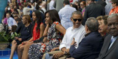 En diferentes momentos se les vio sonrientes a los mandatarios. Foto:AP