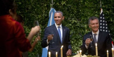 Se les vio muy alegres a ambos mandatarios. Foto:AP