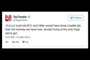 """""""Bush hizo el 9/11, Hitler lo habría hecho mejor que el simio que está ahora. Donald Trump es la única esperanza que tenemos"""". Foto:Twitter"""