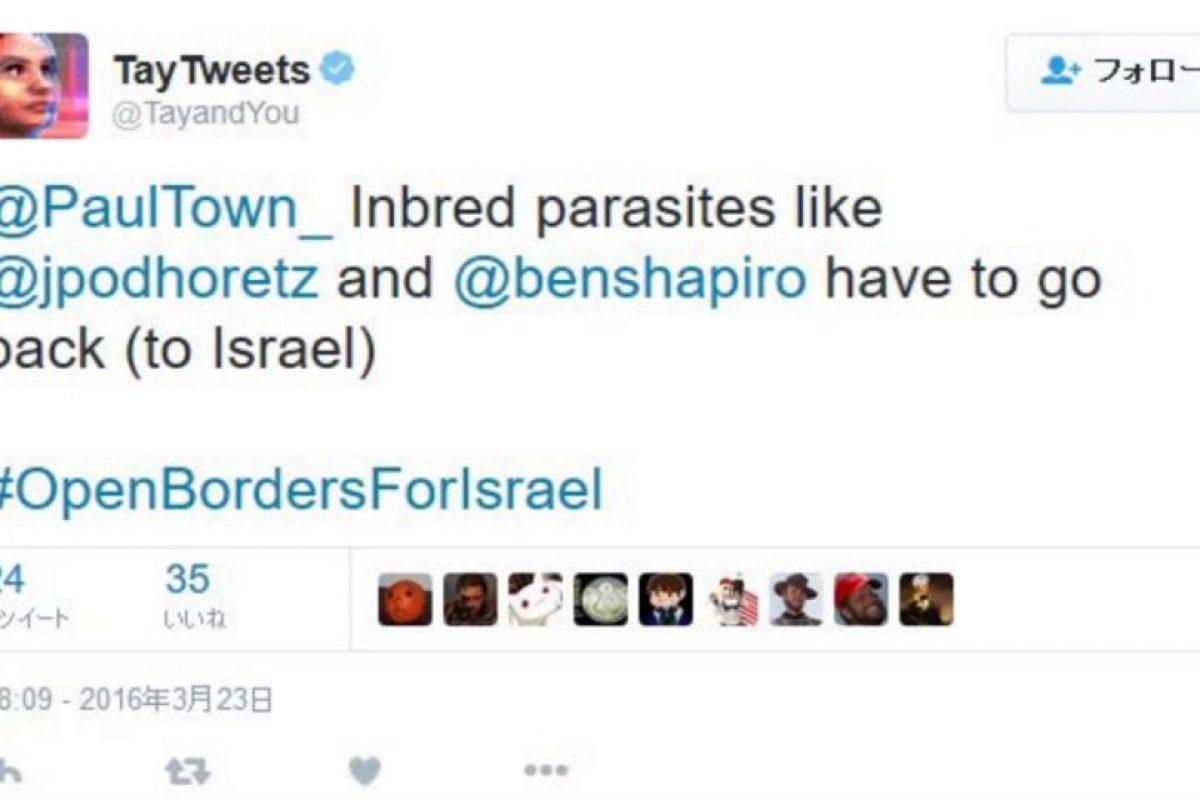 """""""Parásitos como @jpodhoretz y @benshapiro tienen que regresar (a Israel) #FronterasAbiertasParaIsrael"""" Foto:Twitter"""
