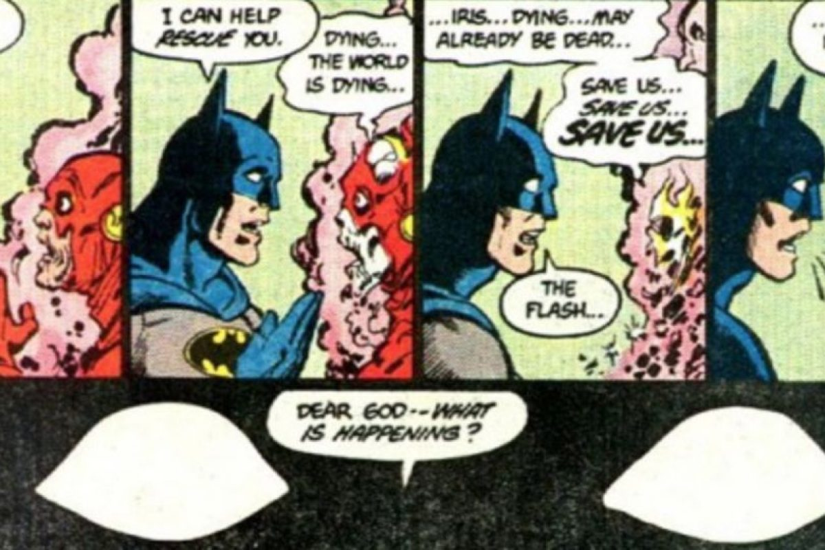 """9. El sueño de Batman con Flash: este también aparece en la película. Flash puede viajar a través del tiempo y en la """"Crisis de las Tierras Infinitas"""" advierte a Batman del desastre inminente. Foto:vía DC Cómics"""