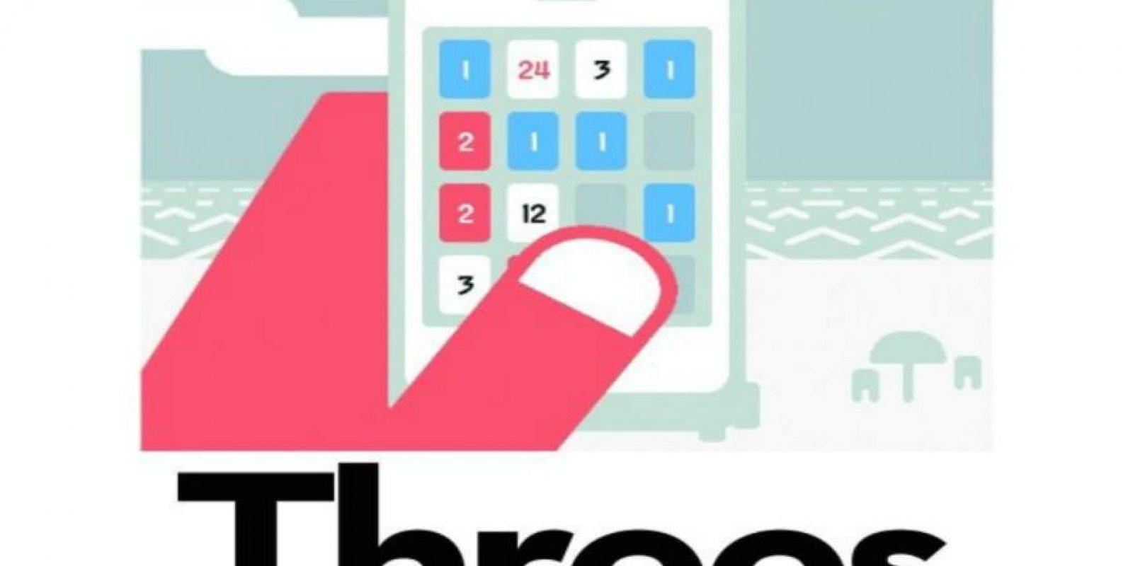 10.- Threes. Deben deslizar una gran cantidad de números por una plataforma, de manera que consigamos poner dos números iguales uno al lado del otro. Si logran hacerlo, se unirán formando un número mayor. Sigan moviendo y uniendo los números para ir subiendo su récord. Foto:Threes