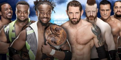 The New Day (Big E, Kofi Kingston & Xavier Woods) vs. The League of Nations (Sheamus, Alberto Del Rio, Rusev & King Barrett) Foto: WWE