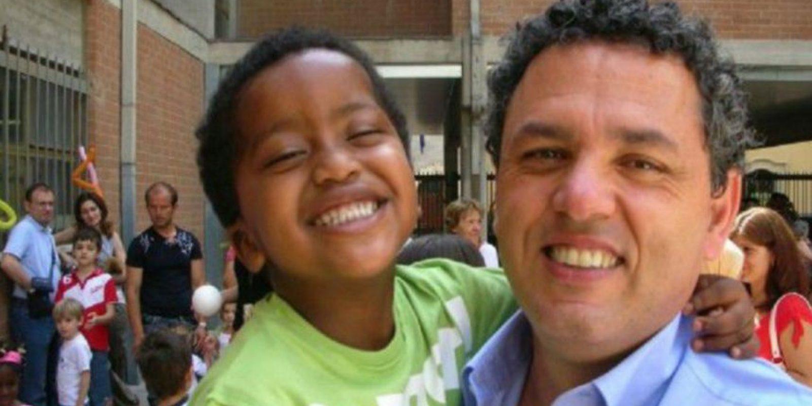 En 2007, Fabbretti adoptó a Dama en Etiopía. Foto:Leonardo Fabbretti