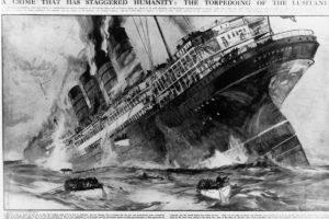 Lusitania. Lujoso barco de pasajeros torpedeado el 7 de mayo de 1915 por un submarino alemán, más de 700 personas murieron. Foto:Getty Images