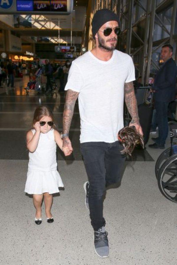 David y su pequeña hija Harper Foto:Getty Images