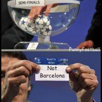 Lo único seguro del sorteo, era que Barcelona no estaría. Foto:Vía twitter.com/troll_football