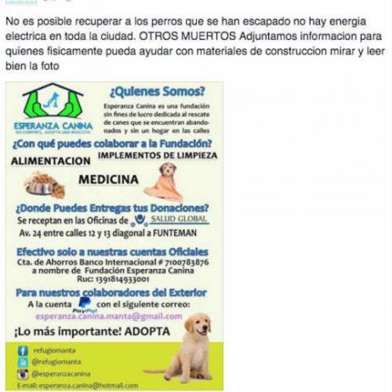 Están pidiendo ayuda en especie dentro de Ecuador. Foto:Facebook