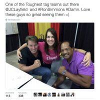 """""""Uno de los equipos más rudos. JC Layfield y Ron Simmons. Diablos, amo ver a estos hombres"""". Foto:Twitter.com/ChynaJoanLaurer"""