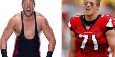 Jack Swagger y Kroy Biermann, jugador de la NFL Foto:Getty Images