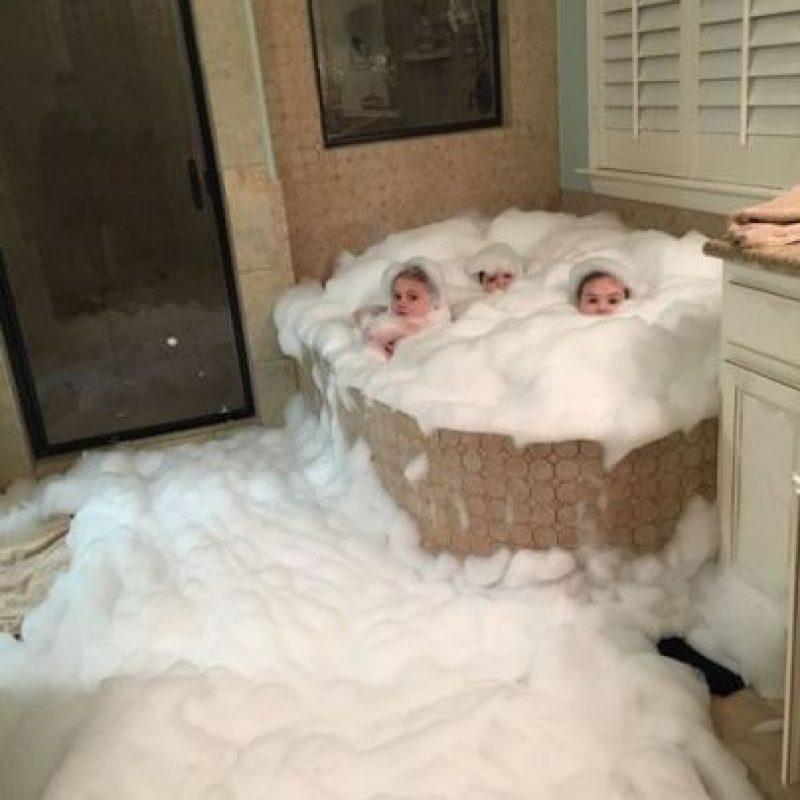 Un baño con espumas. Foto:Vía Pinterest