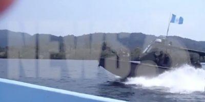 VIDEO. Patrulla naval guatemalteca intercepta el paso a soldados beliceños