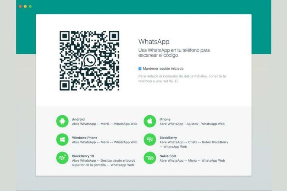 También funciona mediante un código QR. Foto:WhatsApp