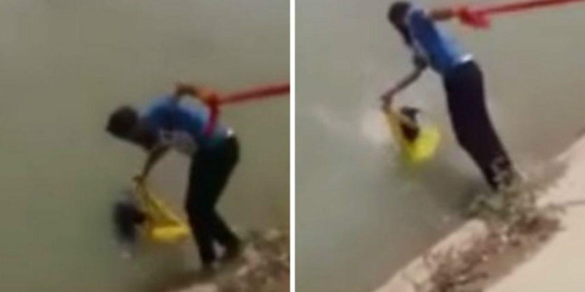 Hombre se quita el turbante para salvar a un perrito de ahogarse