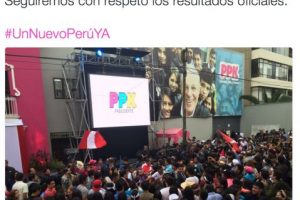 Pedro Pablo Kuckzynksi se declaró respetuoso de los resultados oficiales, que hasta el momento le favorecen Foto:Twitter.com/ppkamigo
