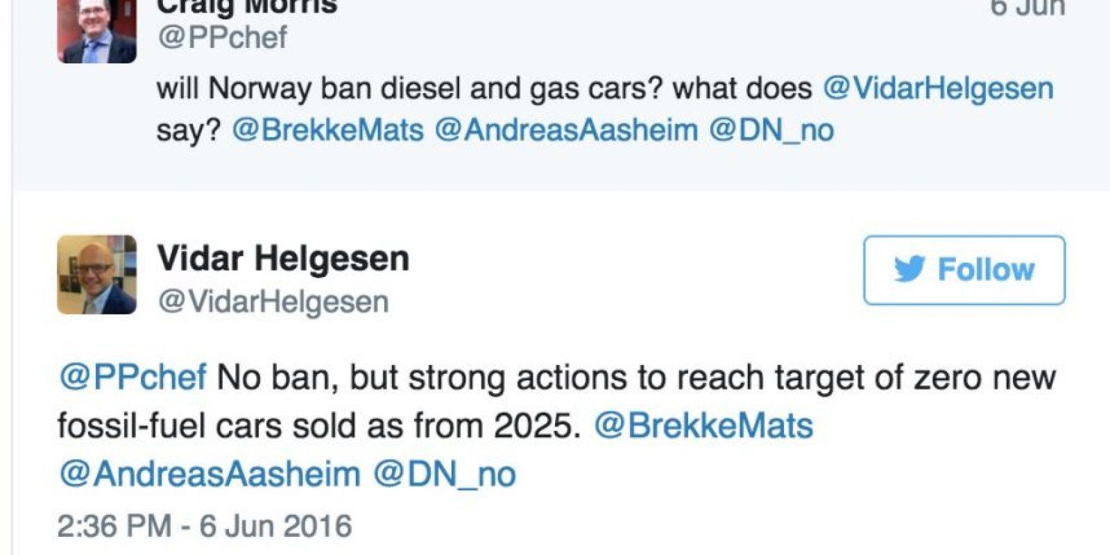 El tuit publicado por el ministro noruego