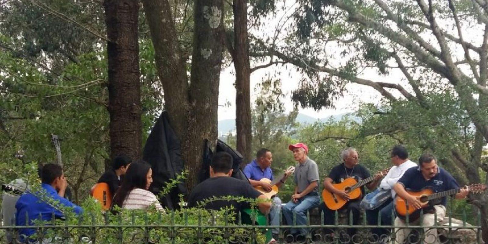 Grandes y chicos acuden al Cerrito del Carmen para recibir clases de guitarra. Foto:Esvin López